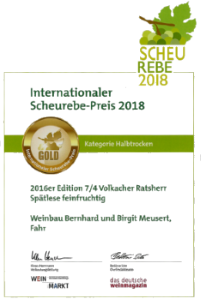Internationaler Scheurebe Preis 2018
